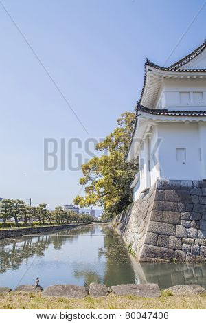 Canal And Wall Around Japanese Castle