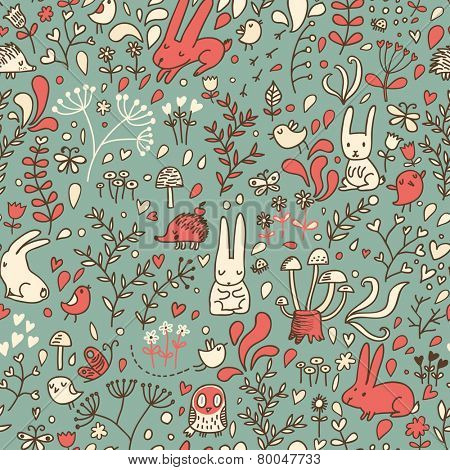 Forest seamless pattern in cartoon style. Cute background in modern colors