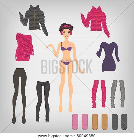 Vector Dress Up Paper Doll With An Assortment Of Winter Clothes