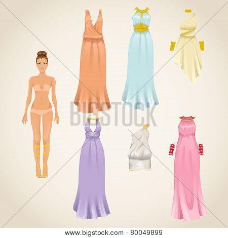 Vector set of greek goddess dresses