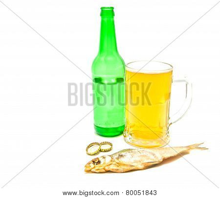 Stockfish And Light Beer On White