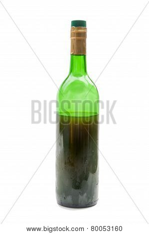 Red Wine In Glass Bottle Isolated On White Background
