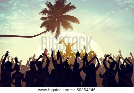 Summer Music Festival Beach Party Performer Excitement Concept