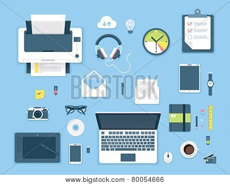 Set of the flat objects on the office table