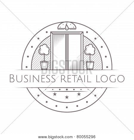 Design element with gray vintage elevator with closed doors line style round icon with sample text for some business center on white background. Vector illustration poster