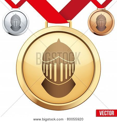 Gold Medal with the symbol of a knight inside