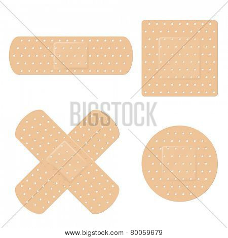 Bandage Vector Set. Vector illustration of long, round, square and crossed adhesive bandage strips