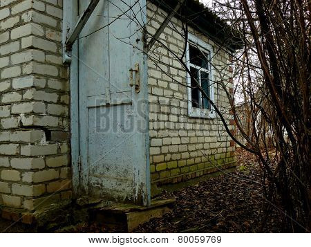 small abandoned house surrounded by leafless shrubs
