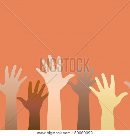 Hands Raised Up. Concept Of Volunteerism, Multi-ethnicity, Equality, Racial And Social Issues. Horiz