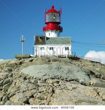 lighthouse Lindesnes in south coast of Norway poster