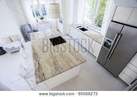 Modern Kitchen With Marble Worktops