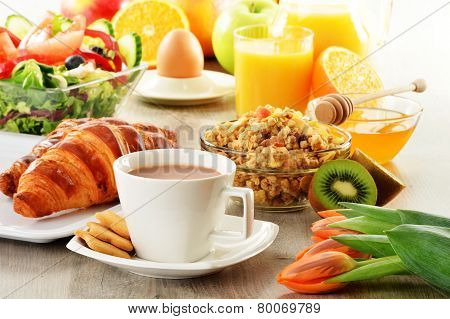 Breakfast with coffee juice croissant salad muesli and egg. Swedish buffet poster