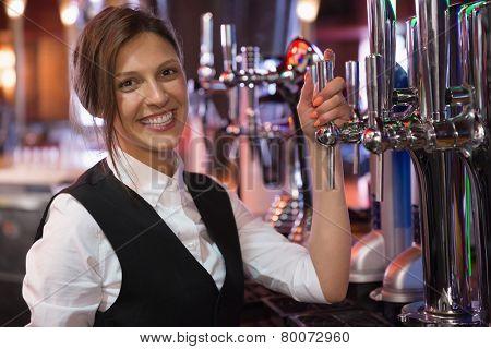 Happy barmaid smiling at camera in a bar