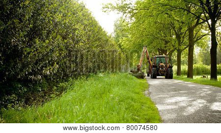 mowing grass shoulder or verge along road in public space  with big orange tractor mower