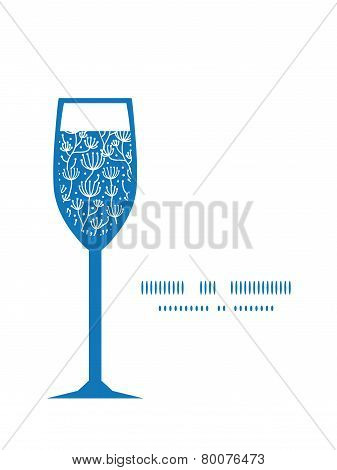 Vector blue white lineart plants wine glass silhouette pattern frame