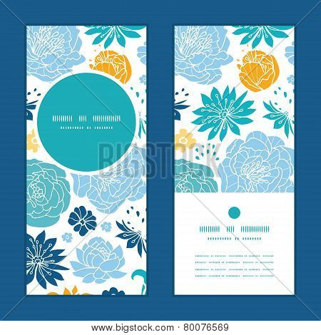 Vector blue and yellow flowersilhouettes vertical round frame pattern invitation greeting cards set