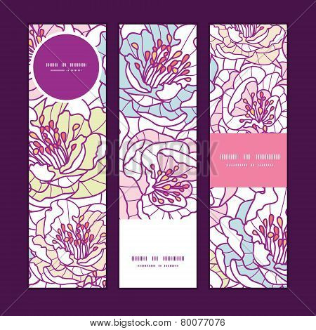 Vector colorful line art flowers vertical banners set pattern background