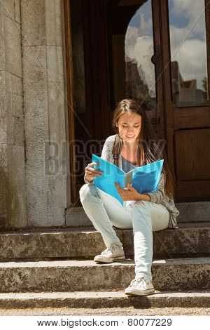 Smiling student sitting and reading book on steps at school