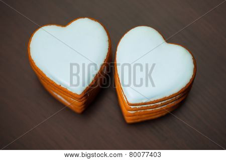 cookie hearts, closeup view