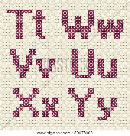 Cross stitch alphabet and number