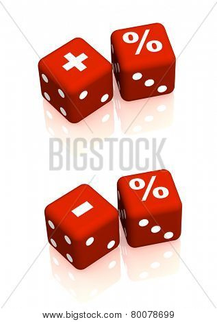 Red playing boxes with symbols plus, minus and percent. Objects on white background