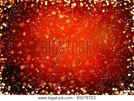 Christmas background with golden boke and snowflakes