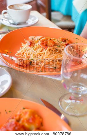 Italian fettuccine and spaghetti with cheese in the gourmet restaurant