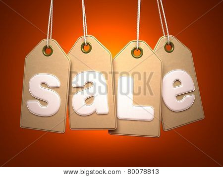 Paper labels with SALE word on orange background