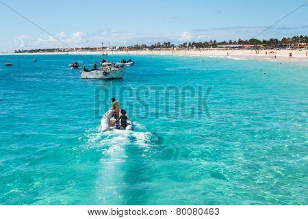 Fisher Boats Santa Maria Beach In Sal Cape Verde - Cabo Verde