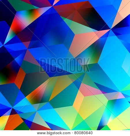 Geometric abstract background. Blue mosaic pattern. Triangle design. Color and art patterns.