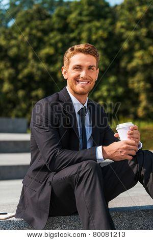 Enjoying His Coffee Break.