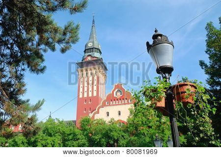 Subotica center is dominated by City Hall, Serbia