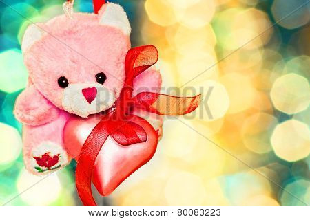 Pink Teddy Bear With Pink Heart Close-up