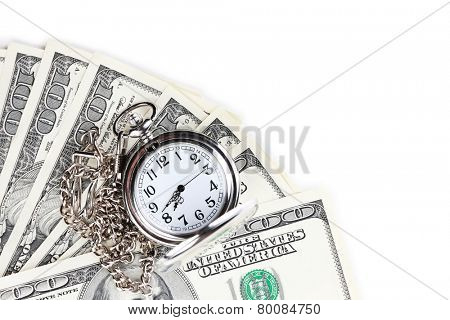 Silver pocket clock and money close-up. Time is money concept