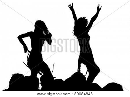 Silhouettes of young dancing girls on a white background
