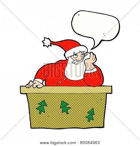 cartoon bored santa claus with speech bubble