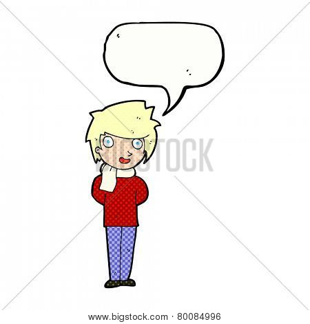cartoon friendly man with speech bubble