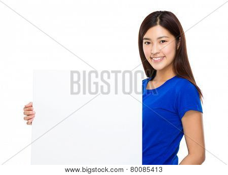 Woman hold with white poster