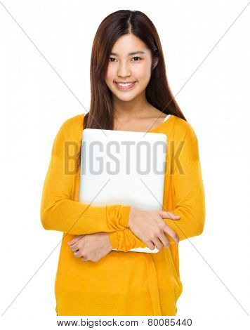 Asian Woman hold with laptop