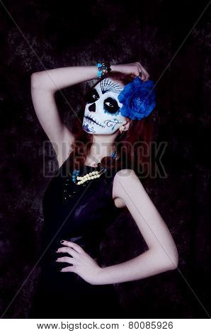 Woman witch with scary blue makeup. Dia de los muertos poster