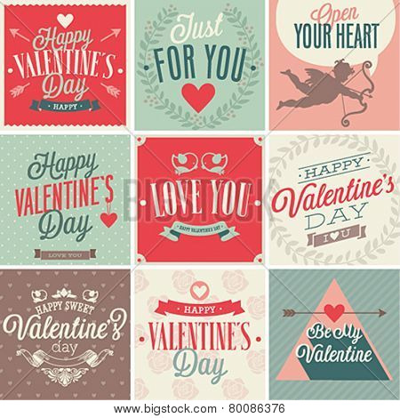 Valentine`s day card set. Vector illustration.