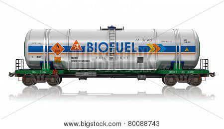 Industrial railway tankcar with biofuel isolated on white background with reflection effect poster