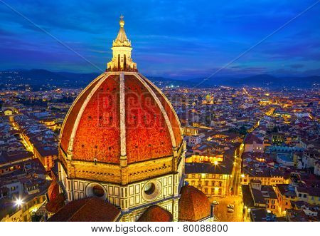 View of the Cathedral Santa Maria del Fiore at dusk. Florence, Italy