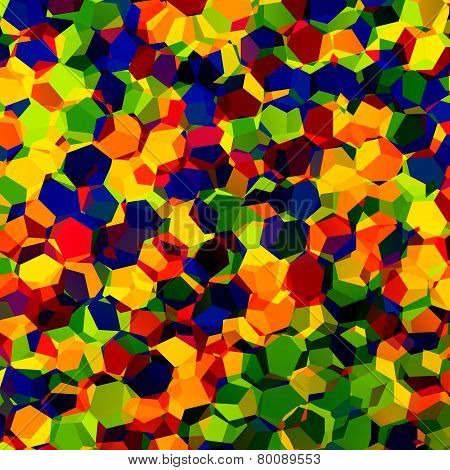 Multicolored confetti. Rgb. Red blue and green mosaic. Abstract colorful chaotic pattern background. Fantasy artistic image. Geometric concept design. Color art. Rainbow colours. Hexagonal shapes. Digital artwork. Pile of hexagons. poster