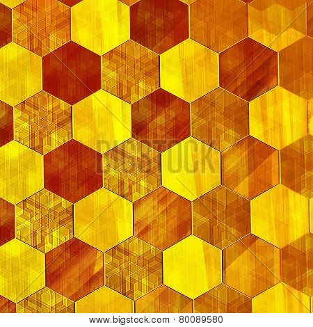 Abstract gold background. Modern design. Warm yellow color tone. Vintage wallpaper pattern. Bee.