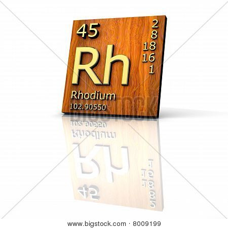 Rhodium Form Periodic Table Of Elements - Wood Board