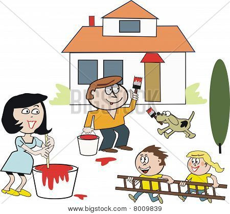 Family painting house cartoon