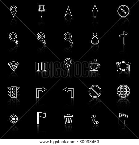 Map Line Icons With Reflect On Black Background