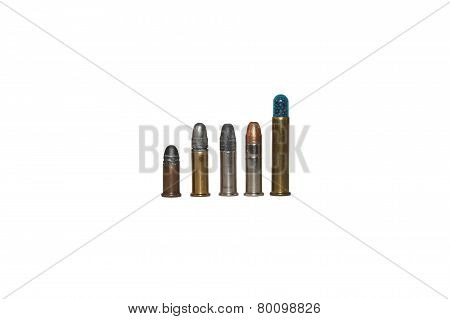 .22 caliber bullets, different types, isolated on white