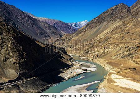Sangam Indus and Zanskar Rivers meeting in Leh Ladakh ,India
